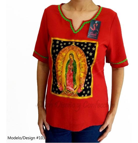 Blusa Manga Corta Guadalupana Algodon Virgen De Guadalupe