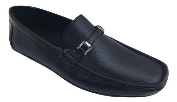 Zapato Casual Mocasin Karosso 91142 Hombre Piel Negro