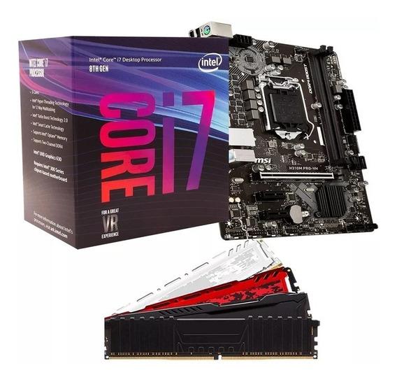 Kit Gamer 8º Ger Intel I7 8700 + H310m + 8gb + Ssd 120gb M.2