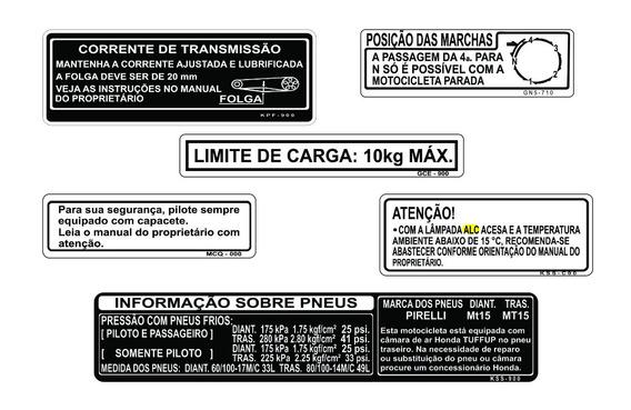 Honda Biz - Adesivos De Advertência - Biz - Frete Grátis