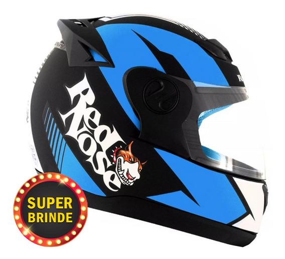 Capacete Masculino Evolution 788 G6 Red Nose Azul Brilho Pro Tork Moto