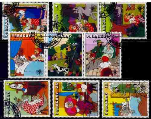 Paraguay 1980 Cuentos Infantiles Serie Completa 9 Sellos