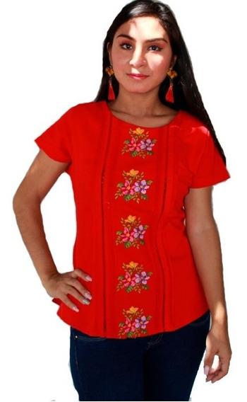 Blusa De Lino Zeye Rojo Vivo Mayakim