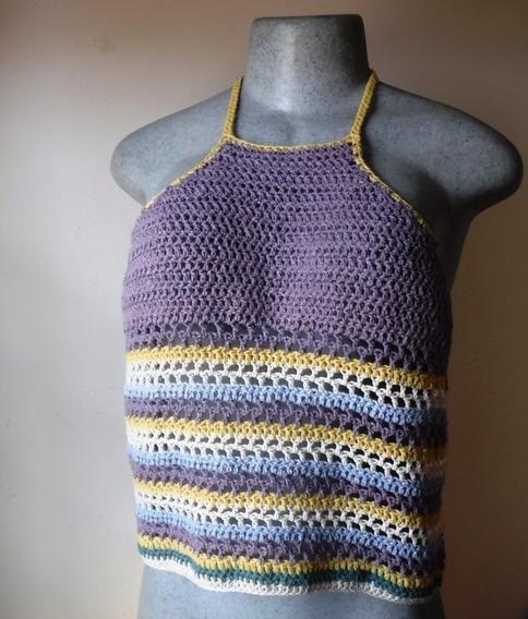 Top Tejido En Crochet Estilo Halter Con Escote Talla Grande