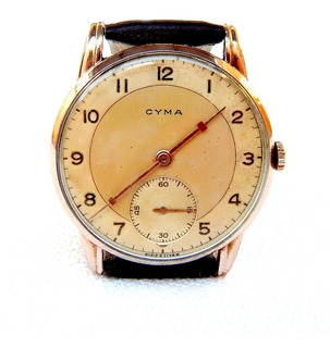 Reloj Cyma Vintage 38mm Funcionando 1940c Micronado Oro