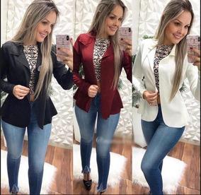 Blazer Terninho Sem Babado Neoprene Moda 2018 Barato