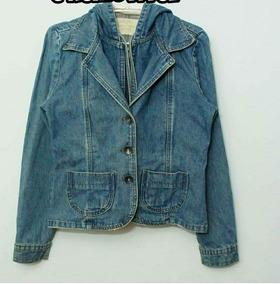 Jaqueta Jeans Com Capuz Vintage