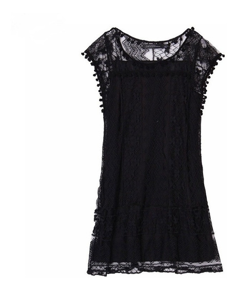 Vestido Encaje Corto Negro Verano Playa Moda 2020