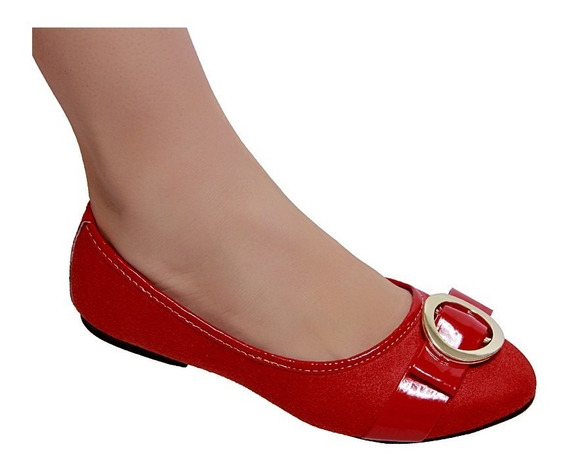 Sapato Sapatilha Feminina Bico Redondo Preta Nude Vermelha