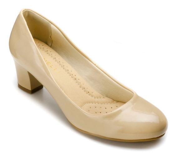 Sapato Feminino Facinelli 62402 Verniz Areia Salto Grosso