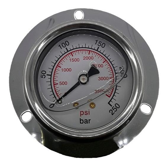 Manometro 250 Bar Horizontal Com Flange - R.1/4 Npt