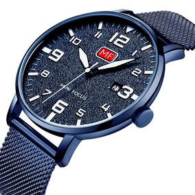 Reloj Analógico De Cuarzo Para Hombres Fecha De Malla De Ma