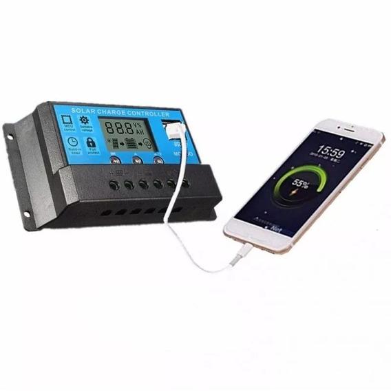 Controlador Carga Painel Solar 30a Usb 12/24v Pwm Com Visor
