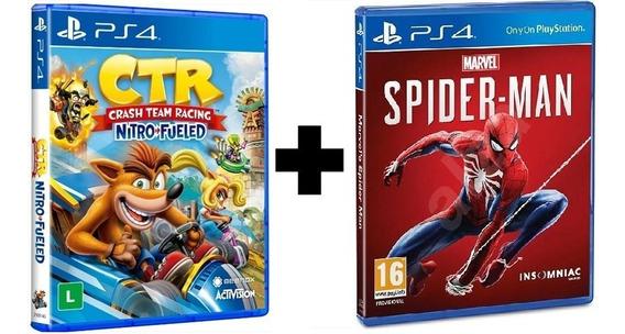 Crash Team Racing + Spider-man Ps4 Mídia Física Novo Lacrado
