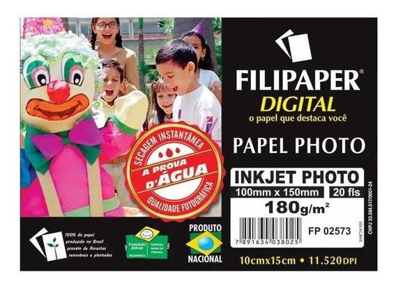Papel Foto Filipaper Ink Jet Photo 10x15 180gr 20 Fls