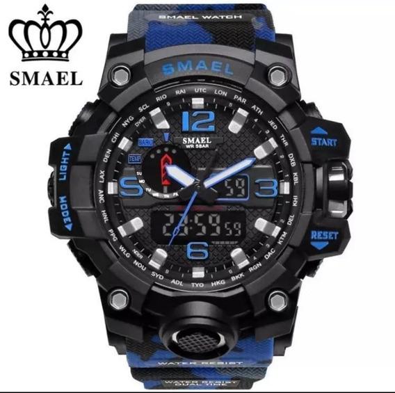 Relógio Smael 1545 Azul Camuflado Á Prova D