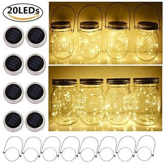 Solar Mason Jar Lid String Lights 8 Pack 20 Led String Fairy