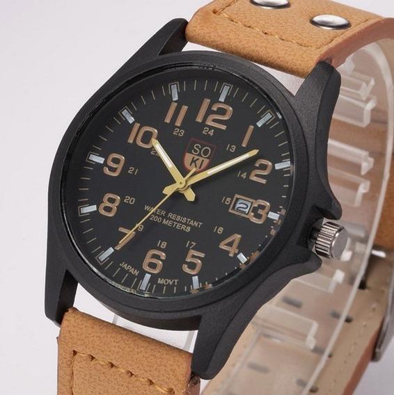 Relógio Military Soki Suíço Marrom Couro Calendário Sk065