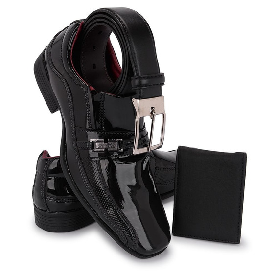 Sapato Social Masculino Sint. Envernizado Kit Cinto+carteira