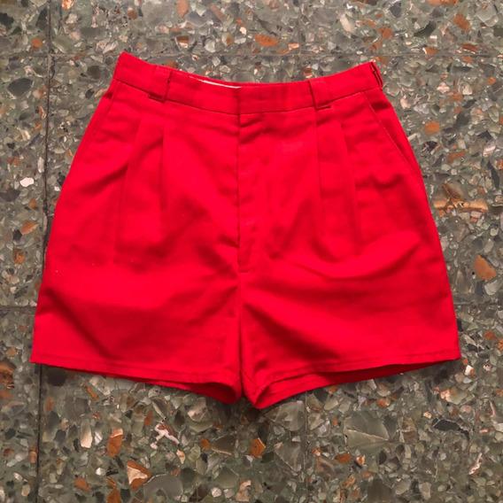Short Vintage Tiro Alto Rojo