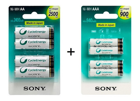 Pilha Rec Sony Aa 2500 Mah 4 Und + Pilha 900 Mah Aaa 4 Und