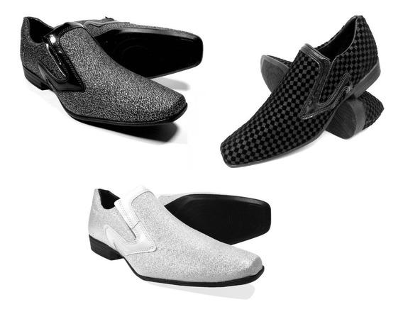 Sapato Social Masculino Kit 3 Tres Pares Liso Bico Fino
