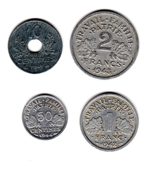 Bkz / Francia Oc. Nazi 4 Moned / Inc. 50 Cent. 1944 Rara