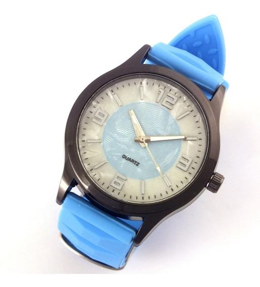 Relógio Feminino Quartz Com Pulseira Azul Em Borracha B5621