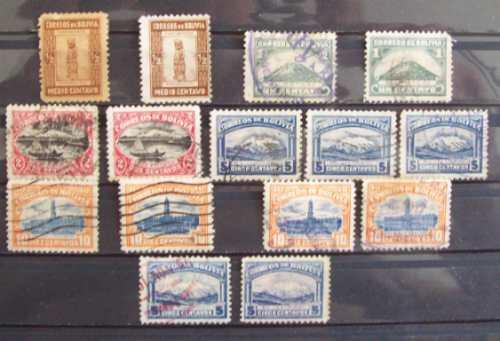 Bolivia, Lote 15 Sellos Serie 1916 Usados Y Nsg L0245