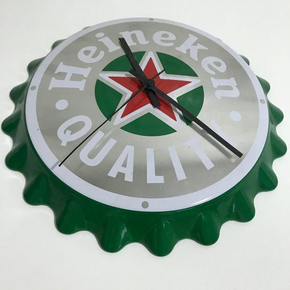 Relógio Parede Heineken Tampa Garrafa Churrasqueira Lazer