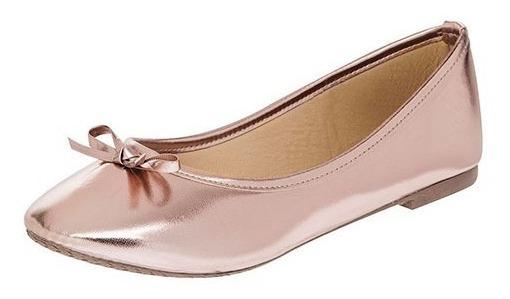 Zapato De Piso Flats Dama Sexy Girl 3004 Oro Rosa 22-26 T5