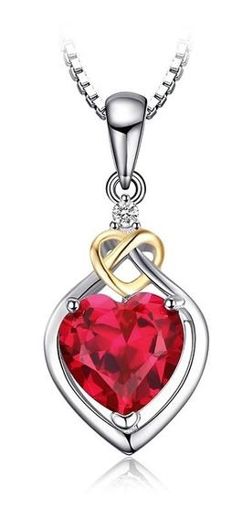 Dije Rubí Creado 2.5 Ct. Lab Ak Jewelry Plata 925 Y Oro 18k