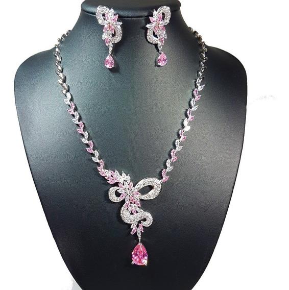 Joia De Festa Luxo Conjunto Colar Cravejado E Brinco Banhado Ródio & Zircônia Rosa Pink - Debutante, Miss, Madrinha