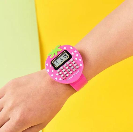 Relógio Calculadora Morango Pronta Entrega Qualidade Oferta