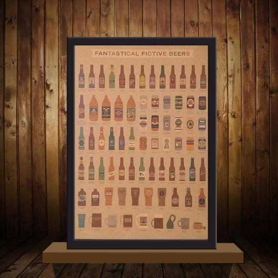 Poster Cervejas Do Mundo Da Ficção Retro 51x36 Cm