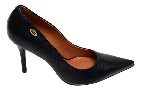 Sapato Feminino Scarpin Luz Da Lua Preto Em Couro