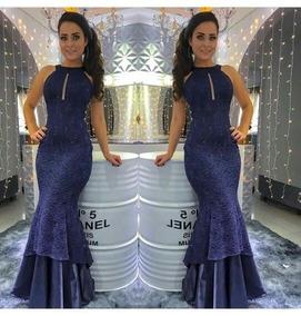 61ecf9eb48f64 Vestido Longo Festa Azul Royal Costa Nua - Vestidos com o Melhores ...