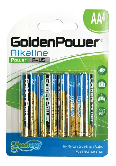 Bateria Golden Power Alkaline Aa 1.5v Cartela C/ 4 Unidades