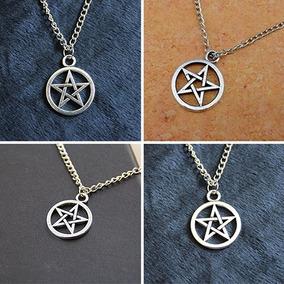 4c2b2b4affaf 2 Pcs Unisex Estrella Círculo Pentagram Collar Colgante Par