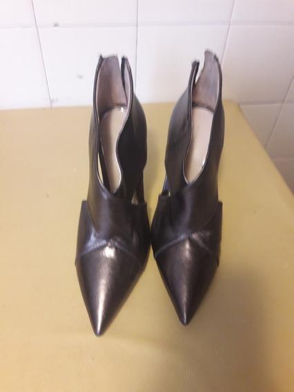 Stilettos Zara 38 Color Peltre Nueva Temporada