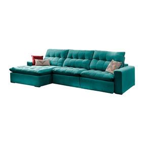 Sofá Retrátil E Reclinável 4 Lugares Esmeralda Com Chaise Oc