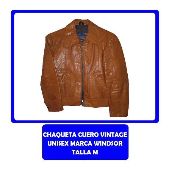Chaqueta Unisex Cuero Vintage Marca Windsor Talla S