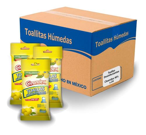 Imagen 1 de 6 de Toallas Desinfectantes Cleandex 40s X 24 Paq.