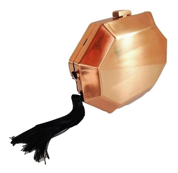 Bolsa Clutch Feminina Metal Geométrica Festa Bronze Preta