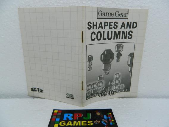 Manual Original Do Shapes And Columns Do Game Gear - Loja Rj