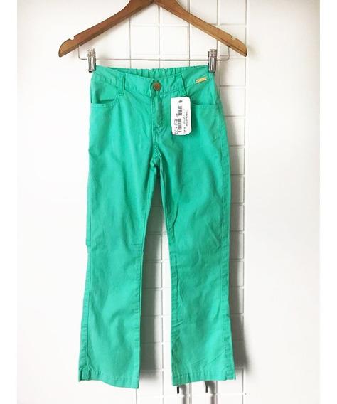 Calça Infantil Feminina Sarja Color - Tam 8