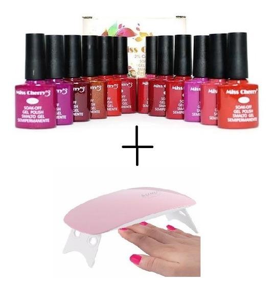 Kit Gelish Miss Cherry (12pzs) + Lampara Sun Mini + Envio