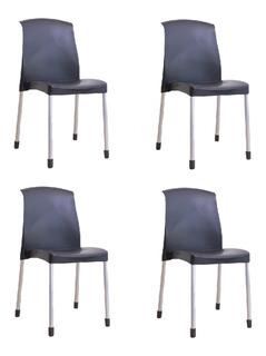 4 Sillas Plastica Galana Apilable Reforzado De Diseño Cuotas