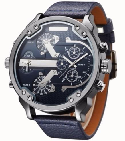 Relógio Militar Oulm Modelo 3548 Azul Escuro + Frete Grátis