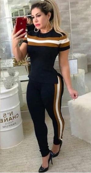Conjunto Crepe Xadrez Blusa Feminina Calça Roupa Camiseta